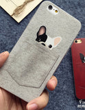 French bulldog Pocket Cartoon Animals Soft Phone Case For iPhone 6Plus 6 6S 5 5S SE 5C 4 4S