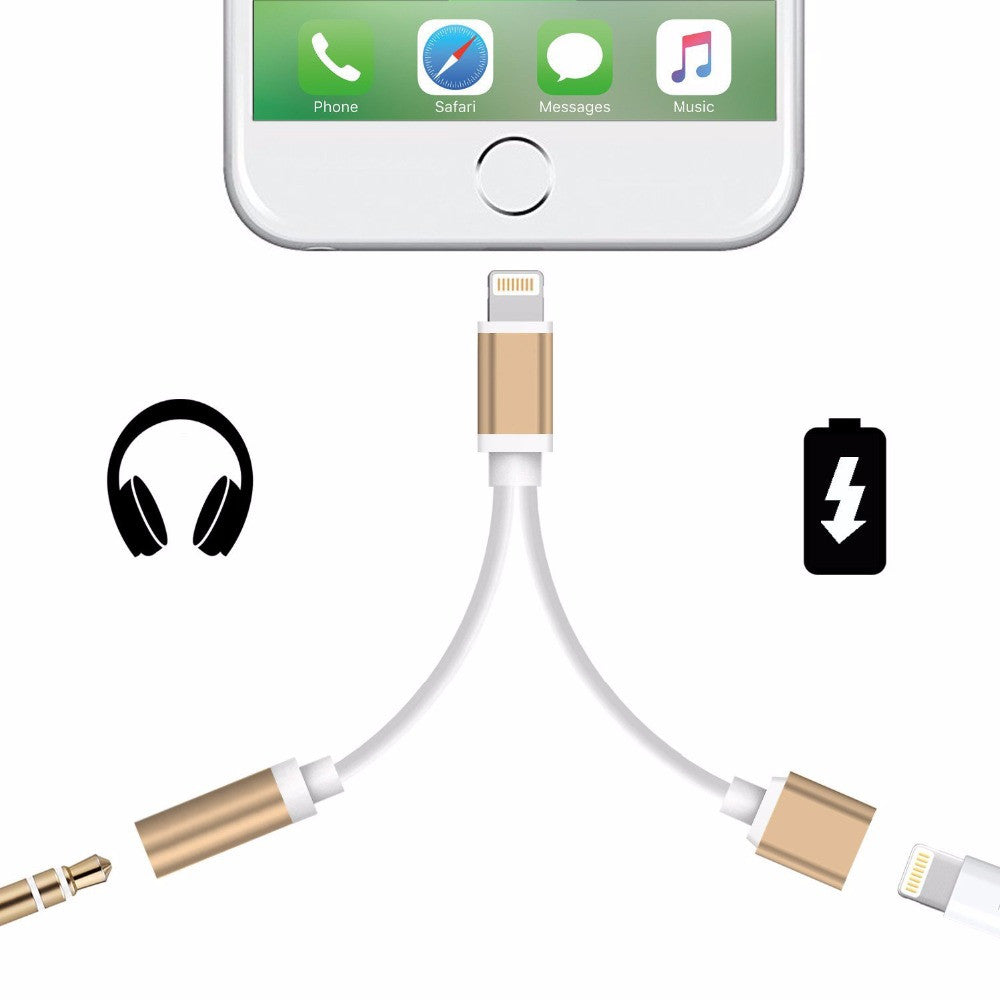 2 in 1 For Apple iPhone 7/iPhone7 Plus Adapter Headphone Jack USB Charging Charger AUX Cable Lighting to 3.5mm Female Converter