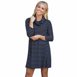 Fashion Winner Women Dress Navy and white Stripes Long Sleeve High Collar Slim Elastic Office Autumn Dress#LSN