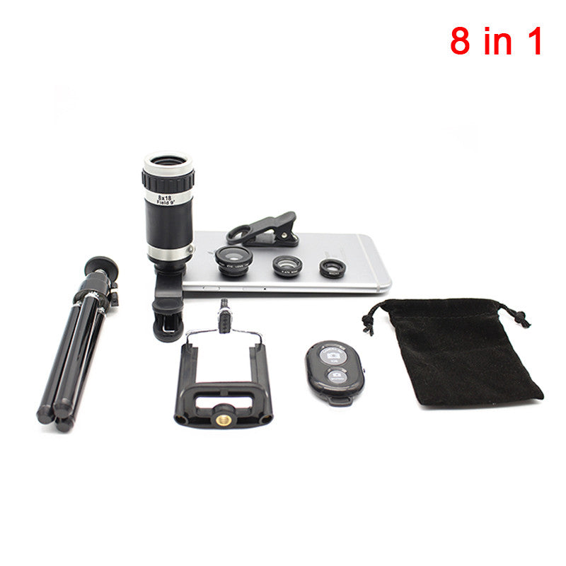 8in1 Camera Lens Kit 8X Optical Zoom Telescope Lenses 3in1 Fisheye Wide Angle Macro Lentes With Clips Tripod