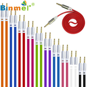 Original Binmer 3.5mm Stereo Auxiliary Aux Cable Male to Male Flat Audio Music Aux Cord for Computers and Cars Fast Shipping1207