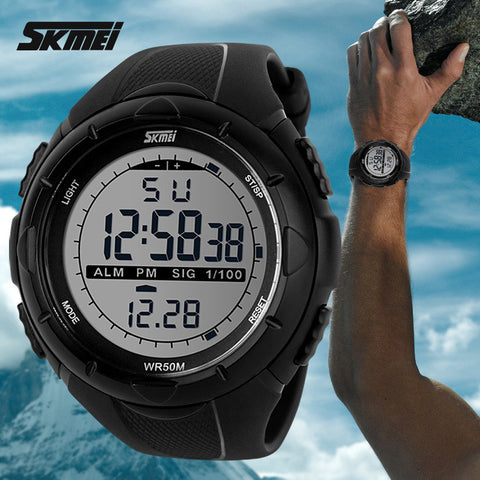 New Skmei Men LED Digital Military Watch, 50M Dive Swim Dress Sports Wristwatches