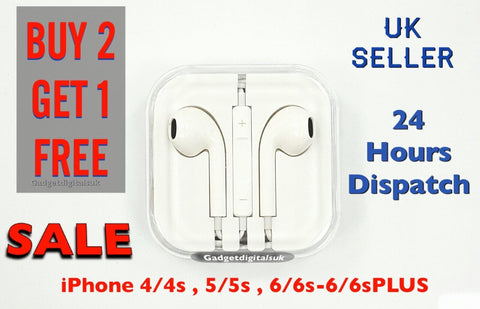 New Earphone for Apple iPhone 6 /6 Plus /5 /5 EarPod Headphone With Mic-UK Stock