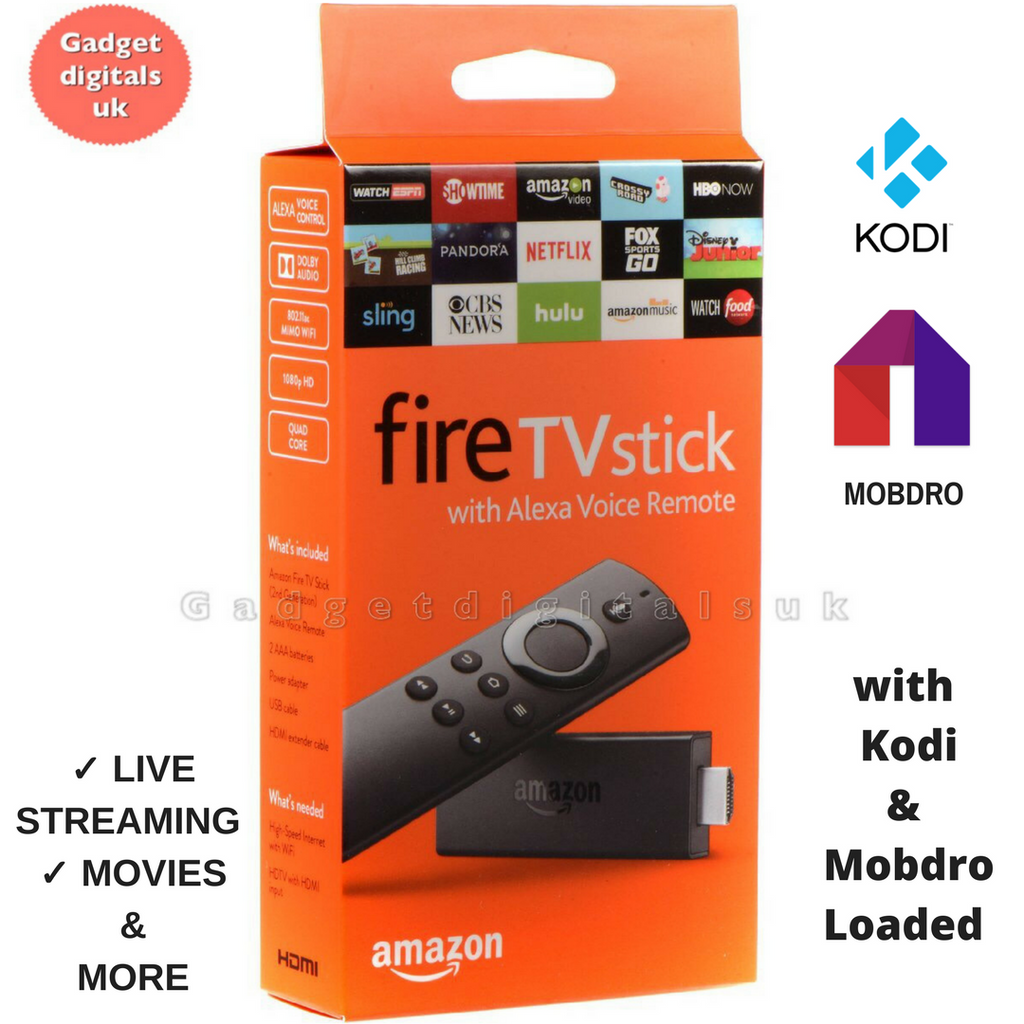 Brand New Amazon Fire Stick 2 (2nd Generation) Voice Remote With Free Built-in Kodi 17.6 ✔ Sports✔ Movies✔ TV✔ Kids✔ Live Tv