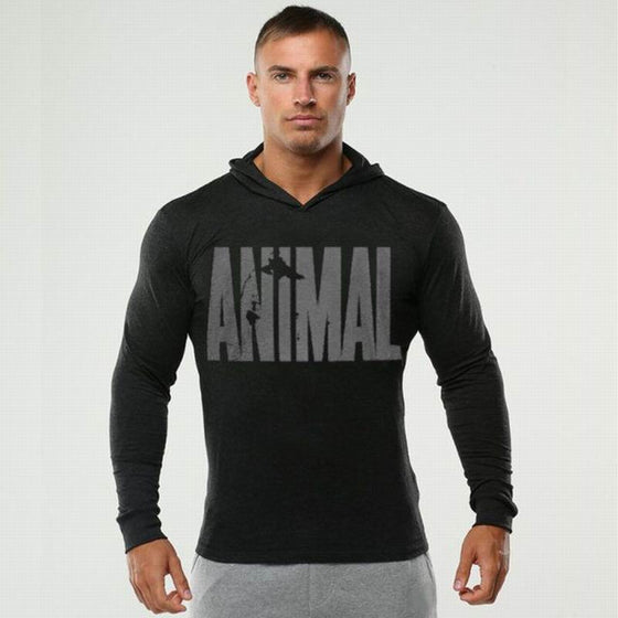 Hot Sale Bodybuilding Hoodies Men Animal Gyms Sweatshirts Long Sleeve Cotton  Sportwear Fitness Pullover Muscle Tops