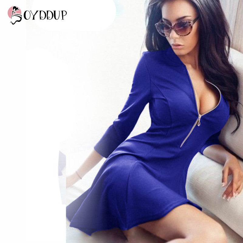 2017 Women Spring Sexy V-neck Solid A-Line Dress 3/4 sleeves Ladies Dresses Evening Party Bodycon Mini Dress vestidos DDUP13