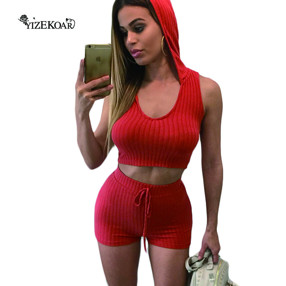 Women Two Piece Short Set Orange Hooded Crop Top and Shorts Set Stylish 2017 Tracksuit Women LC62010