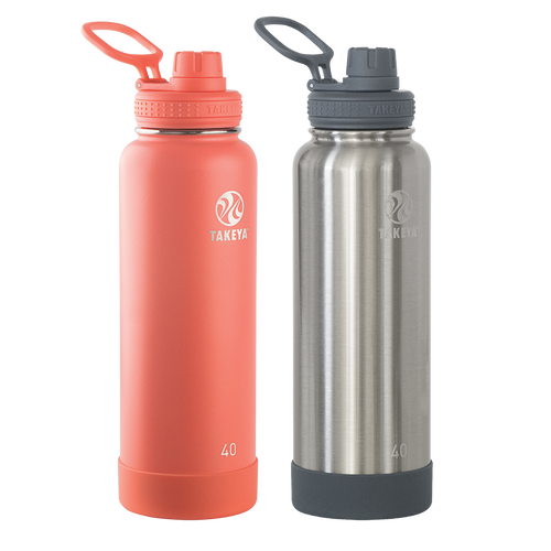 2-Pack Takeya 40oz Double Insulated Stainless Steel Bottles Bundle