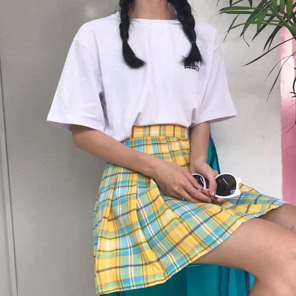 90's High Waisted Pleated Mini Skirt DDLGWorld skirt