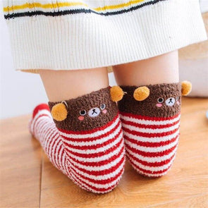Bear Red/White Striped Kawaii Thigh High Socks DDLGWorld socks