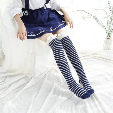 Blue Panda Striped Kawaii Thigh High Socks DDLGWorld socks