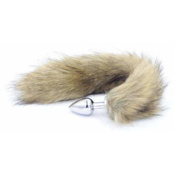 Brown Faux Fur Stainless Steel Plug Tail - 3 Sizes DDLGWorld buttplug tails