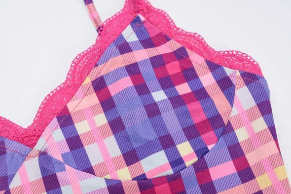 Bubblegum Plaid Crop Top & Skirt Set DDLGWorld Set
