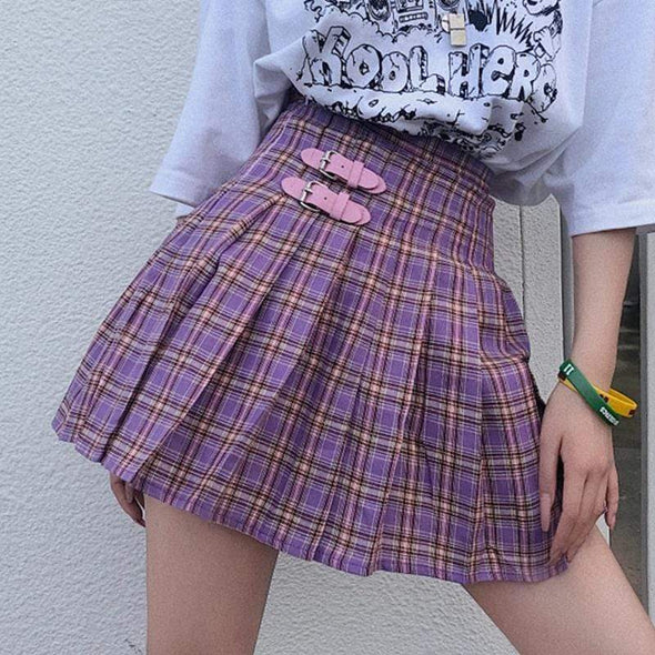 Bubblegum Plaid Skirt DDLGWorld skirt