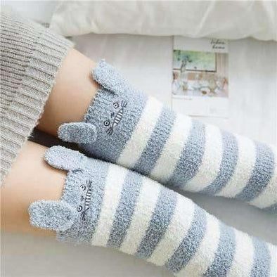 Chinchilla Grey/White Striped Kawaii Thigh High Socks DDLGWorld socks