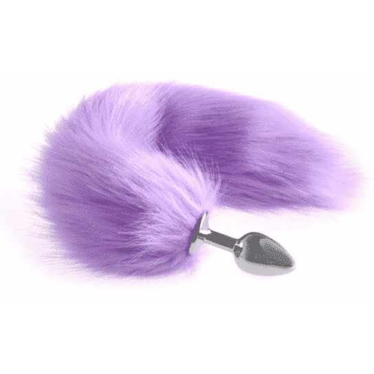 Faux Fur Stainless Steel Plug Tail - Purple DDLGWorld buttplug tails