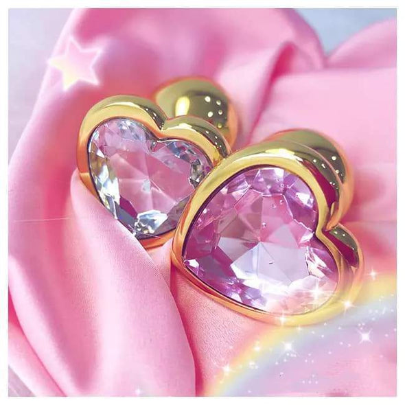 Golden Pastel Heart Princess Buttplug (5 Colors) DDLGWorld buttplug