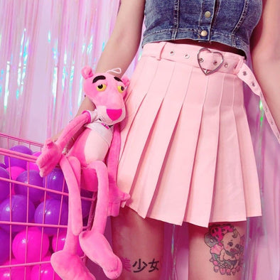 HEART High Waisted Pleated Skirt (Pink/Black) DDLGWorld skirt