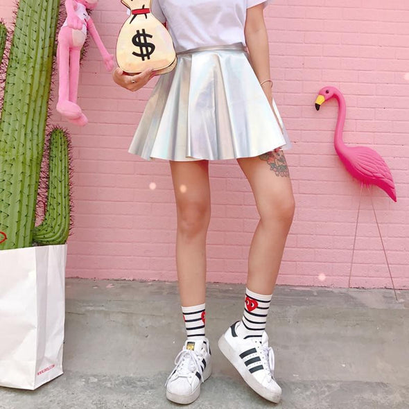 HOLOGRAPHIC Pleated Skirts DDLGWorld skirt