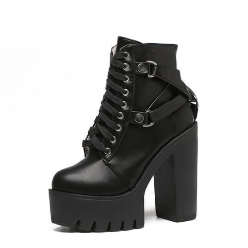 Kawaii Buckle Lace Up High Heel Boots DDLGWorld shoes