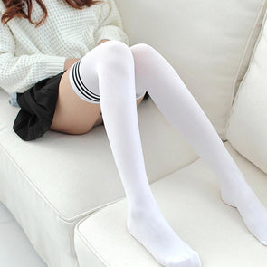 Kawaii Knee High Socks (White/Black) DDLGWorld socks