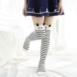 Kitten White/Black Striped Kawaii Thigh High Socks DDLGWorld socks