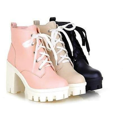 Lace Up High Heel Kawaii Boots DDLGWorld shoes