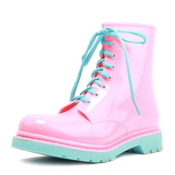 Pink/Blue PVC Lace Up Kawaii Boots (2 Colors) DDLGWorld boots