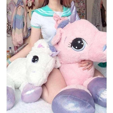 Pink/White Jumbo Unicorn Kawaii Plush (5 Sizes) DDLGWorld plush