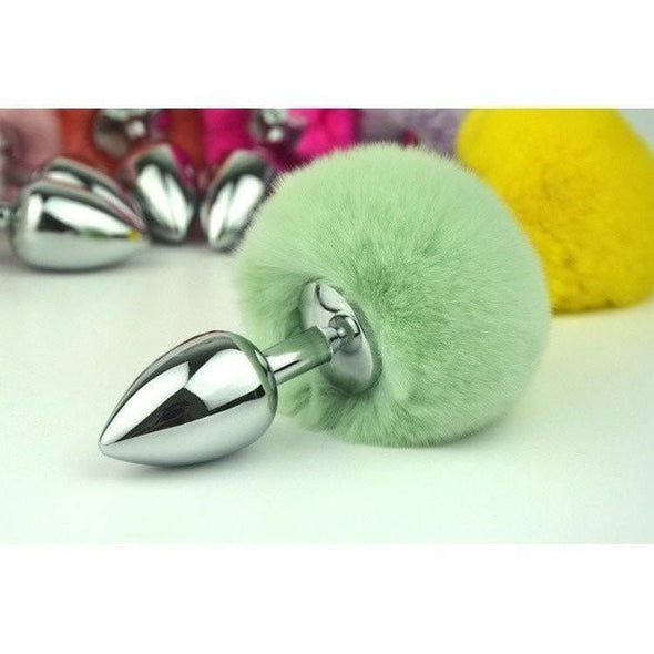 Rabbit Tail Stainless Steel Buttplug DDLGWorld rabbit tail