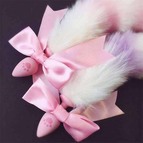 Silicone Multi-Color Neko Tail Plug w/Ribbon (7 Colors) DDLGWorld tail plug