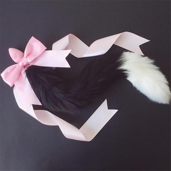 Silicone Tipped Tail Neko Tail Plug w/Ribbon DDLGWorld tail plug