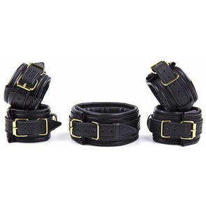 Superior 3 Piece PU Leather Set Cuffs + Collar DDLGWorld Bondage Set