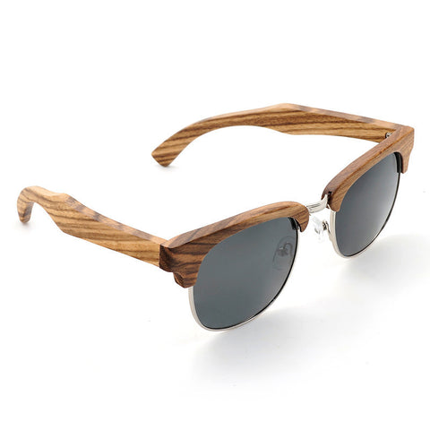 BOBO BIRD Vintage Club Semi-Rimless Wood Sunglasses Polarized Classic Mens Wood Sunglasses in Box - Uppersole
