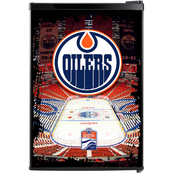 Edmonton Oilers Fridge, Edmonton Oilers Beer Fridge, Edmonton Oilers Mini Fridge, Edmonton Oilers Fridge Decals, Custom Fridge Wraps, Fridge Decals