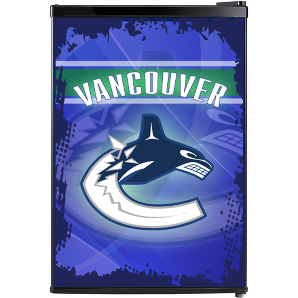 Vancouver Canucks Fridge, Vancouver Canucks Beer Fridge, Vancouver Canucks Mini Fridge,  Vancouver Canucks Fridge Decals, Custom Fridge Wraps, Fridge Decals