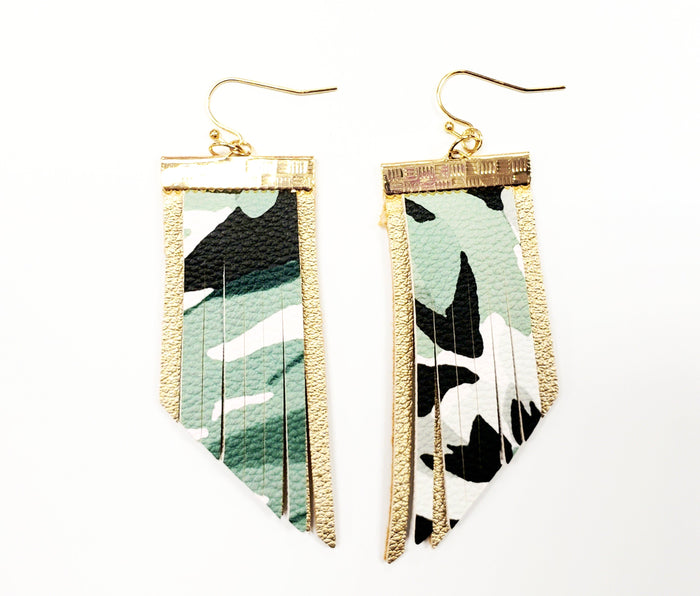 Camouflage fringe earrings - Luxe Shoe Boutique & Accessories