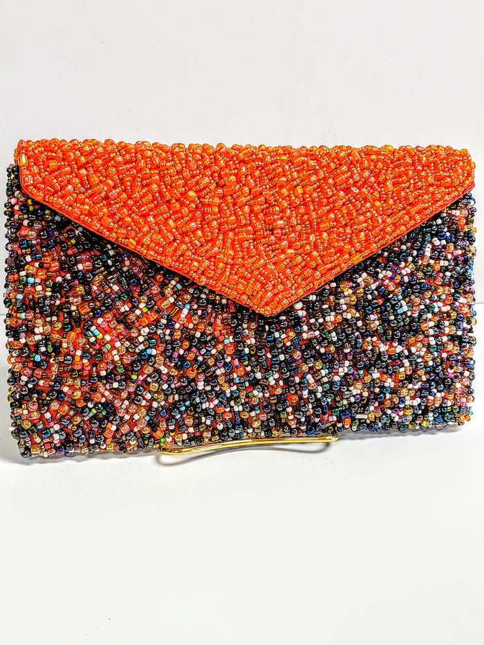 Orange beaded bag - Luxe Shoe Boutique & Accessories