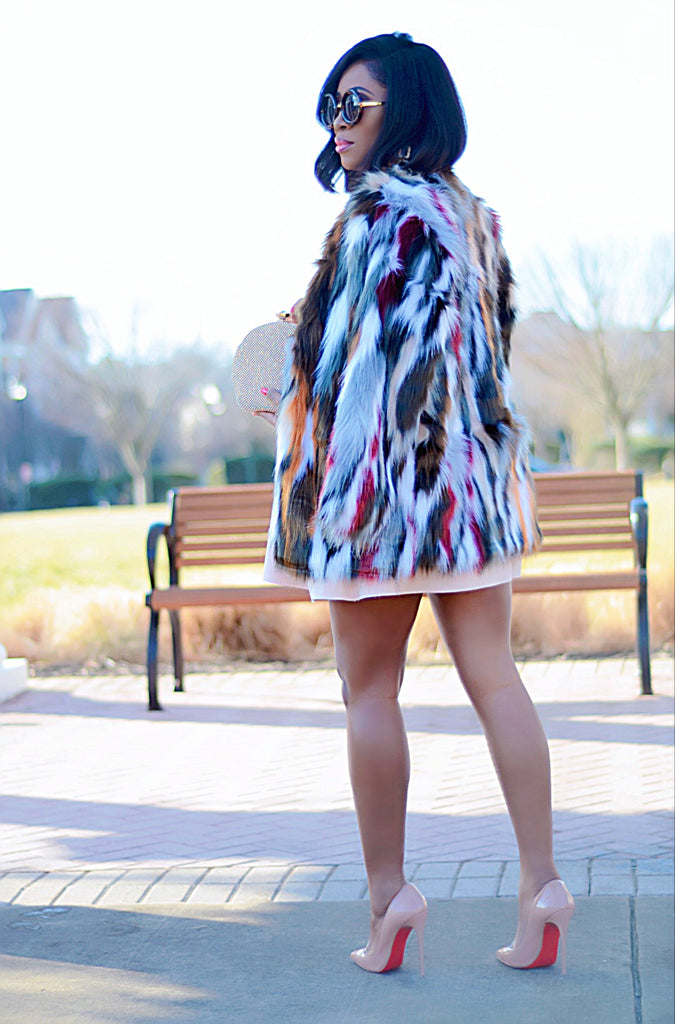 Multicolor faux fur coat - Luxe Shoe Boutique & Accessories