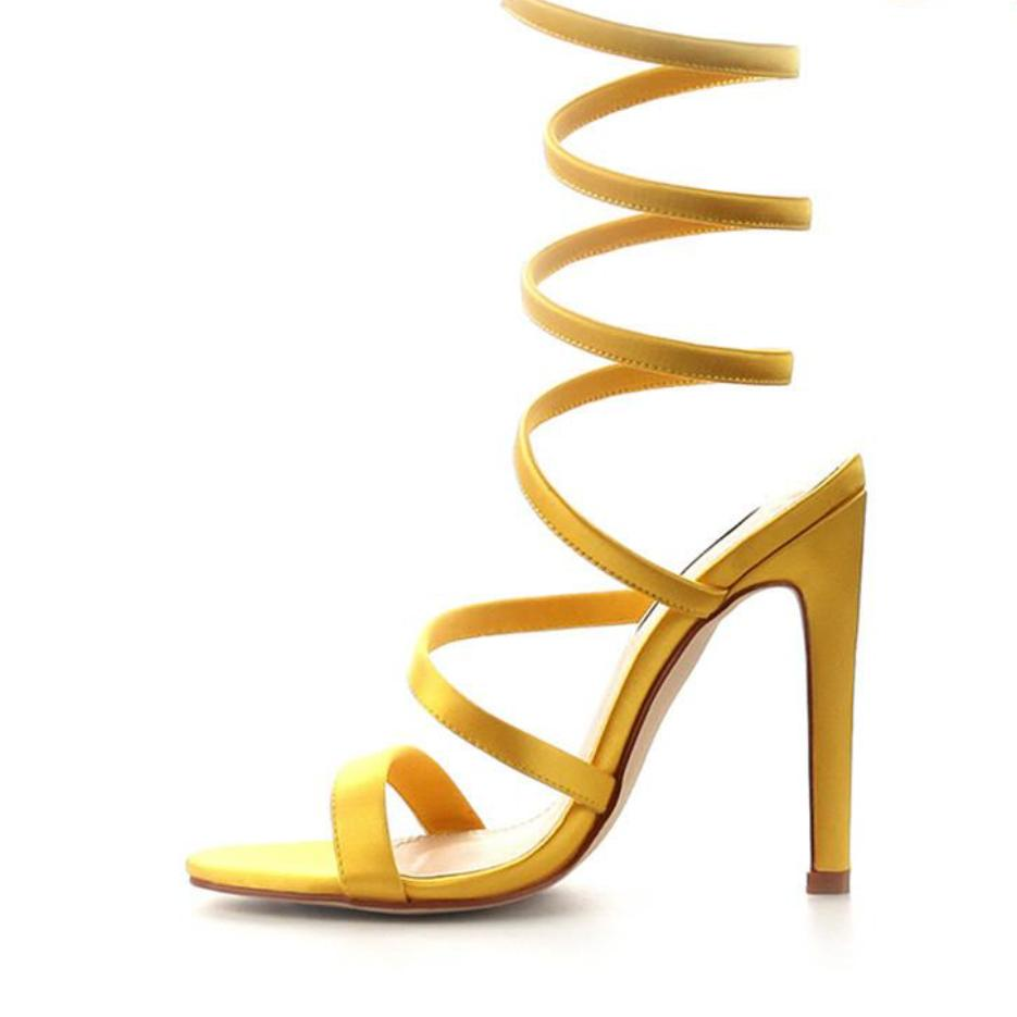 Yellow ankle wrap heel