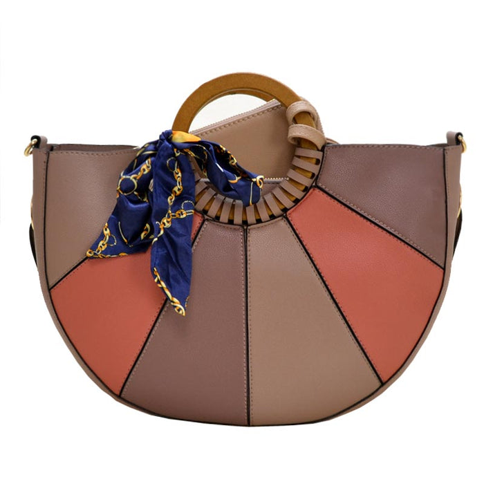 Mauve colorblock handbag