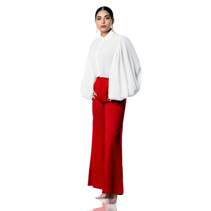 Red wide leg pant with elastic waist and front side pockets
