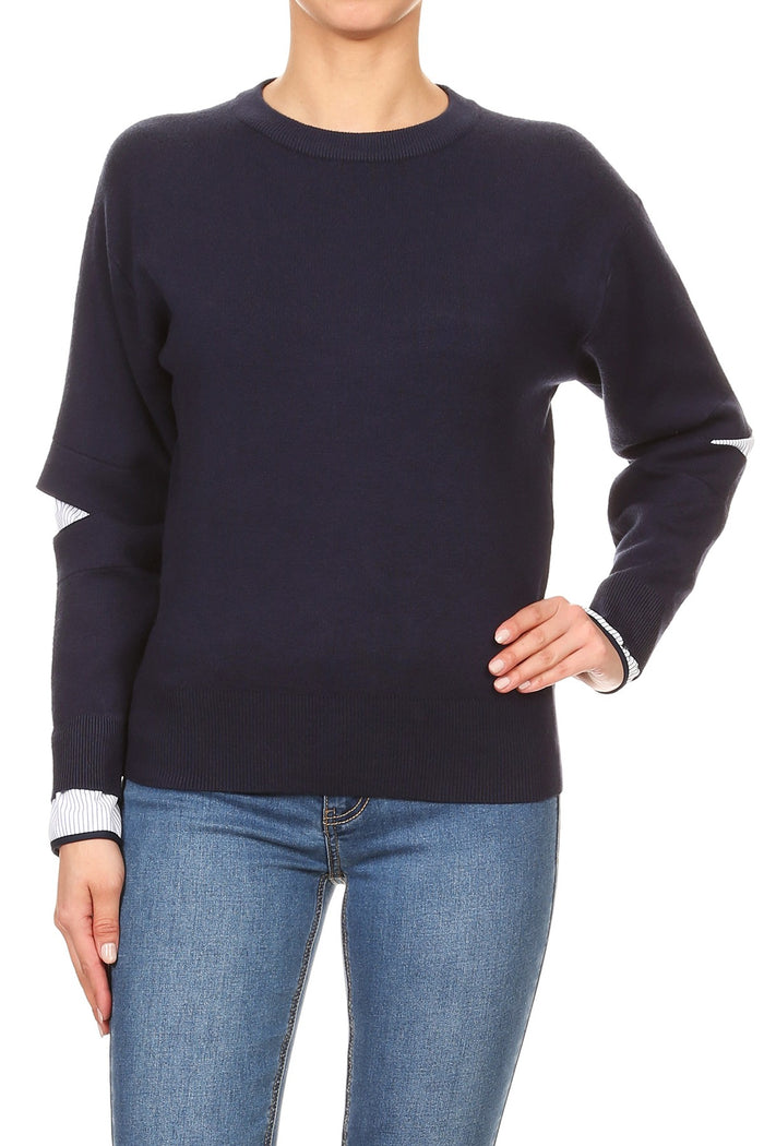 Navy ripped sleeve Top - Luxe Shoe Boutique & Accessories