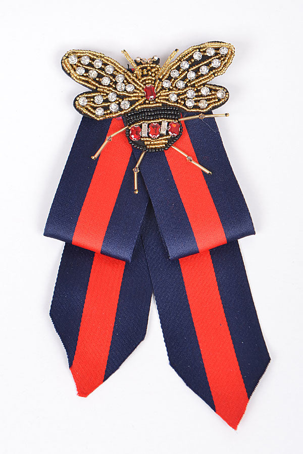 Red/Navy Bow Clip
