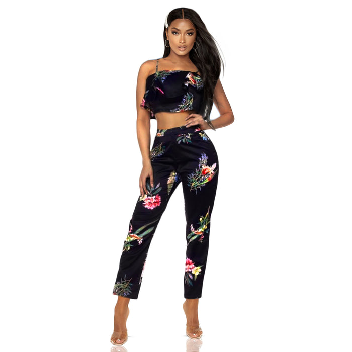 Floral tones on dark navy pant set with   crop top and matching pant.