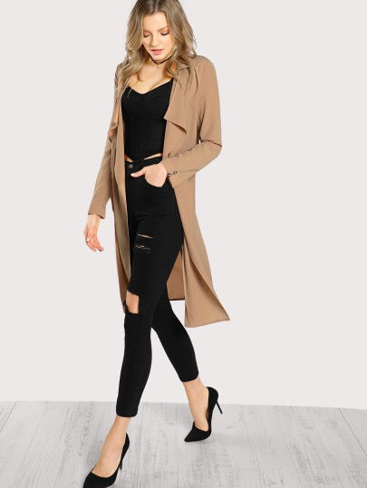 Tan lightweight knee length jacket - Luxe Shoe Boutique & Accessories