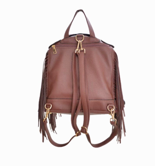 Jacket Fringe Backpack-Brown - Luxe Shoe Boutique & Accessories