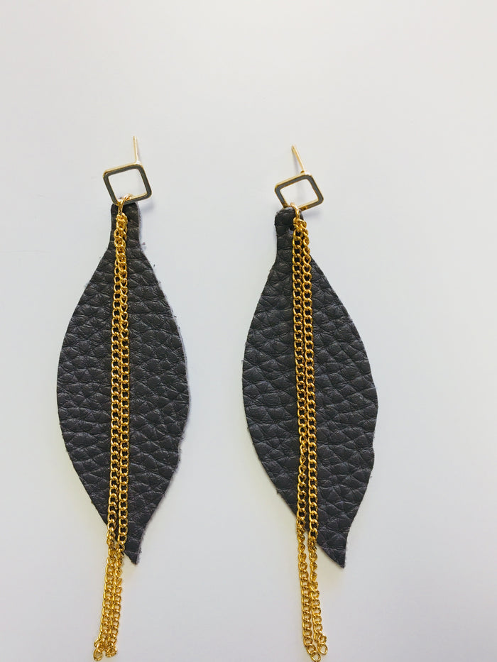 Grey leaf shaped earrings - Luxe Shoe Boutique & Accessories