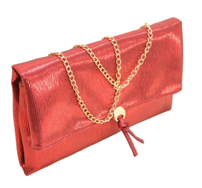 Red metallic clutch - Luxe Shoe Boutique & Accessories