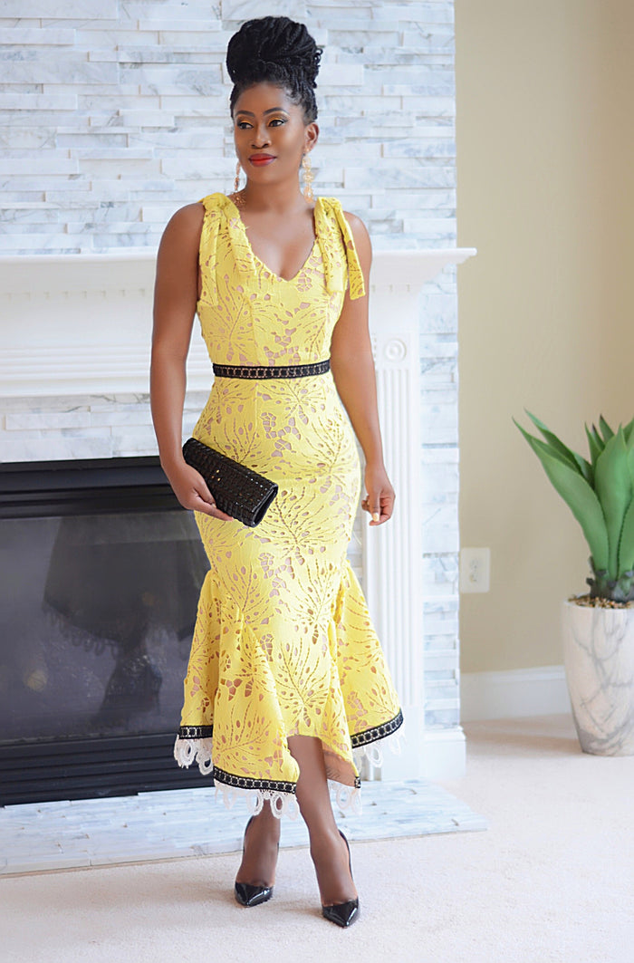 Yellow crochet sleeveless dress - Luxe Shoe Boutique & Accessories